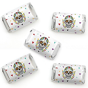 Day Of The Dead - Mini Candy Bar Wrapper Stickers - Halloween Sugar Skull Party Small Favors - 40 Count