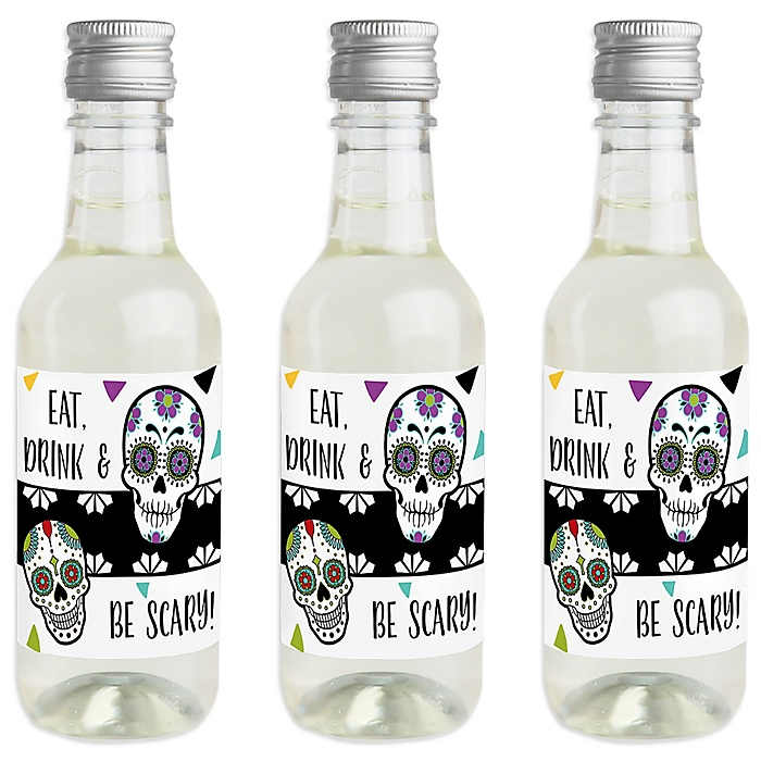 Day Of The Dead - Mini Wine and Champagne Bottle Label Stickers - Halloween Sugar Skull Party Favor Gift - For Women and Men - Set of 16