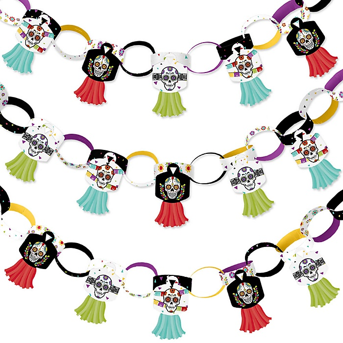 Day Of The Dead - 90 Chain Links and 30 Paper Tassels Decoration Kit - Halloween Sugar Skull Party Paper Chains Garland - 21 feet