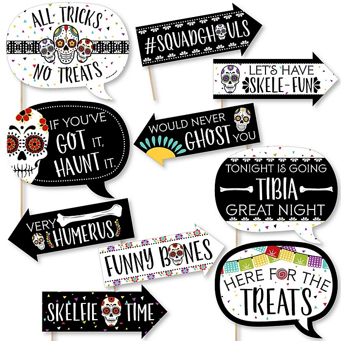 Funny Day Of The Dead - Halloween Sugar Skull Party Photo Booth Props Kit - 10 Piece