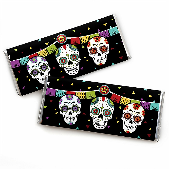Day Of The Dead -  Candy Bar Wrapper Halloween Sugar Skull Party Favors - Set of 24