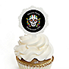 Day Of The Dead - Cupcake Picks with Personalized Stickers - Halloween Sugar Skull Party Cupcake Toppers - 12 ct