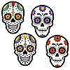 Day Of The Dead - DIY Shaped Halloween Sugar Skull Party Cut-Outs - 24 ct