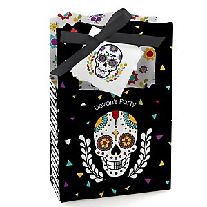 Day Of The Dead - Personalized Halloween Sugar Skull Party Favor Boxes - Set of 12