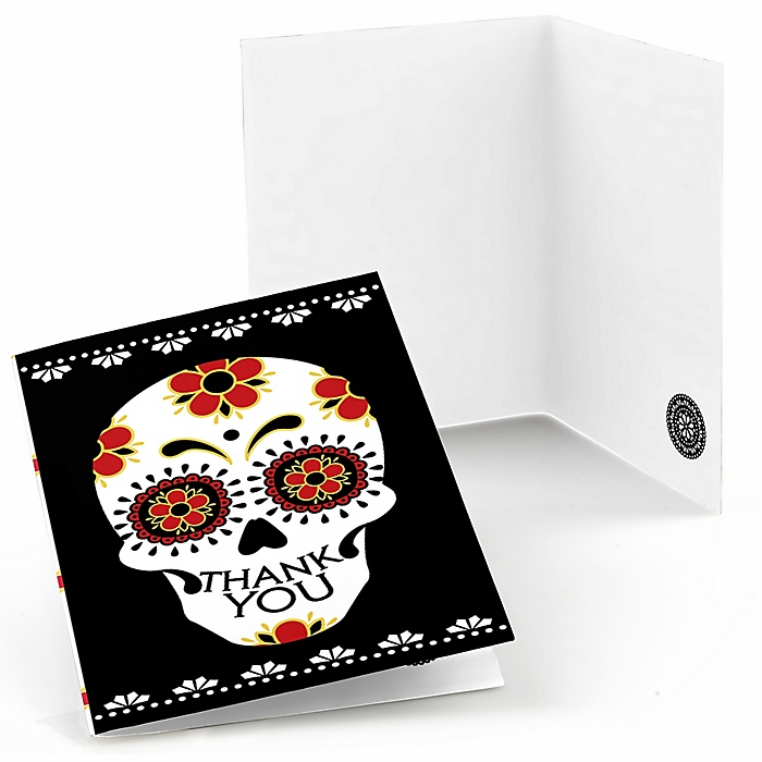 Day Of The Dead - Set of 8 Halloween Sugar Skull Party Thank You Cards