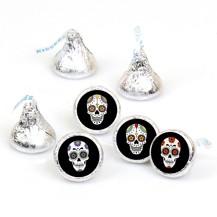 Day Of The Dead - Round Candy Labels Halloween Sugar Skull Party Favors - Fits Hershey's Kisses - 108 ct