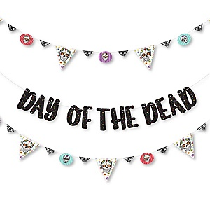 Day Of The Dead - Halloween Sugar Skull Party Letter Banner Decoration - 36 Banner Cutouts and Day Of The Dead Banner Letters