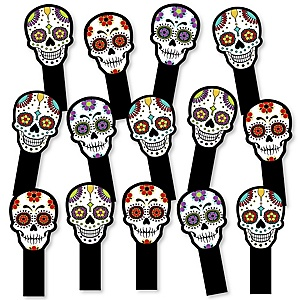 Day Of The Dead - Halloween Party Paddle Photo Booth Props – Selfie Photo Booth Props – Set of 14