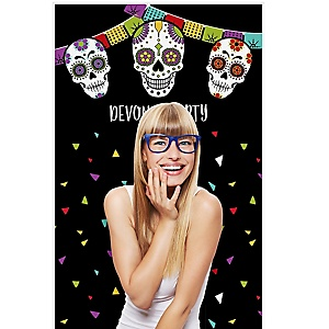 """Day Of The Dead - Halloween Sugar Skull Party Photo Booth Backdrops - 36"""" x 60"""""""
