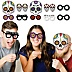 Day Of The Dead Glasses and Masks - Paper Card Stock Halloween Sugar Skull Party Photo Booth Props Kit - 10 Count