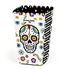Day Of The Dead - Personalized Halloween Sugar Skull Party Popcorn Favor Treat Boxes - Set of 12