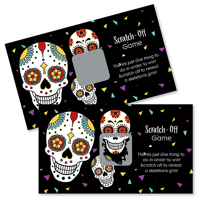 Day Of The Dead - Halloween Sugar Skull Party Scratch Off Cards - 22 Cards