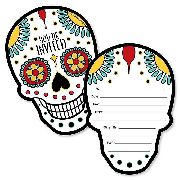 Day Of The Dead - Shaped Fill-In Invitations - Halloween Sugar Skull Party Invitation Cards with Envelopes - Set of 12