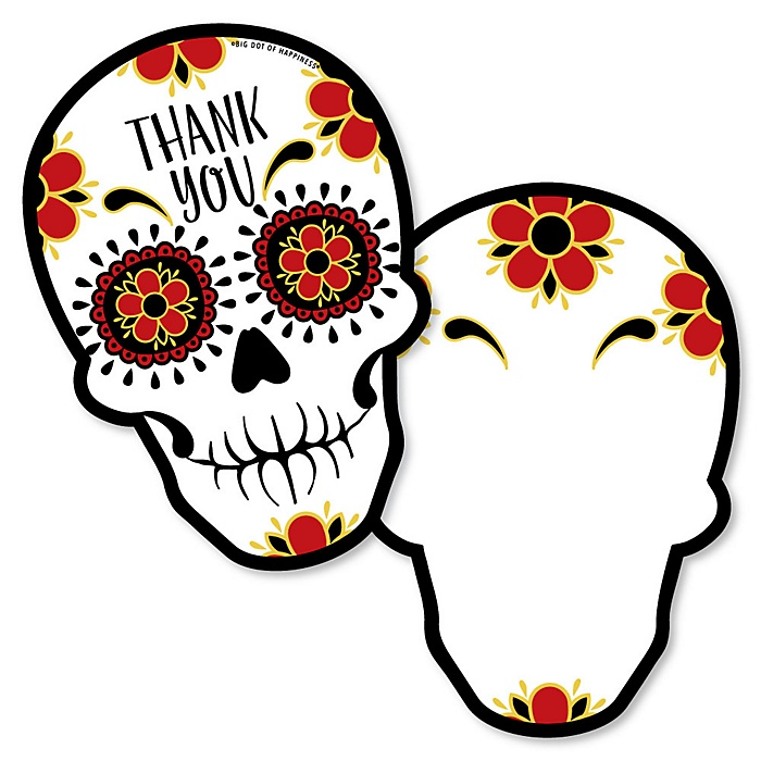 Day Of The Dead - Shaped Thank You Cards - Halloween Sugar Skull Party Thank You Note Cards with Envelopes - Set of 12