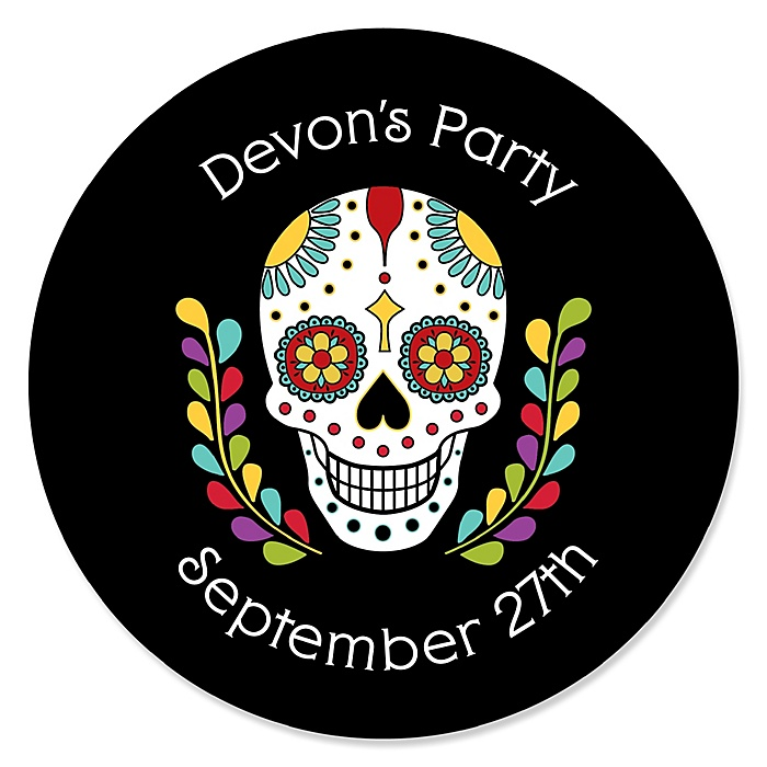 Day Of The Dead - Round Personalized Halloween Sugar Skull Party Sticker Labels - 24 ct
