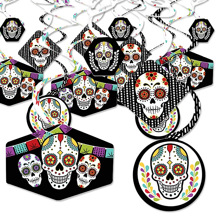 Day Of The Dead - Halloween Sugar Skull Party Hanging Decor - Party Decoration Swirls - Set of 40