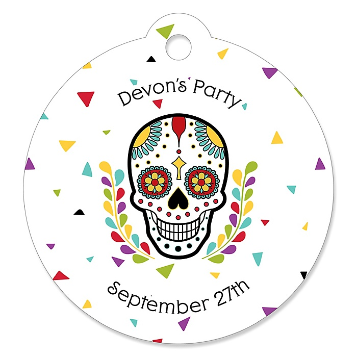 Day Of The Dead - Personalized Halloween Sugar Skull Party Gift Tags - 20 ct