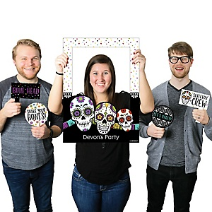 Day Of The Dead - Personalized Halloween Sugar Skull Selfie Photo Booth Picture Frame & Props - Printed on Sturdy Material