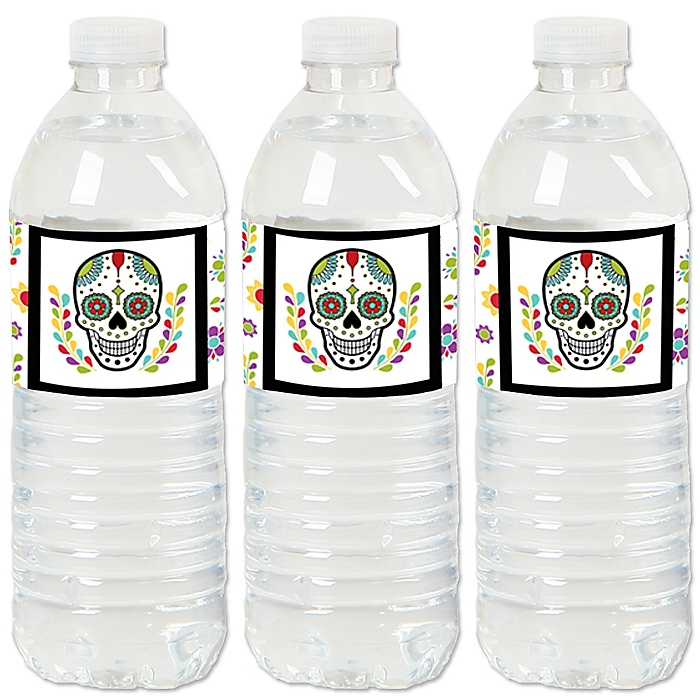 Day Of The Dead - Halloween Sugar Skull Party Water Bottle Sticker Labels - Set of 20