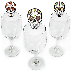 Day Of The Dead - Shaped Halloween Sugar Skull Party Wine Glass Markers - Set of 24