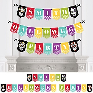 Day Of The Dead - Personalized Halloween Sugar Skull Party Bunting Banner & Decorations