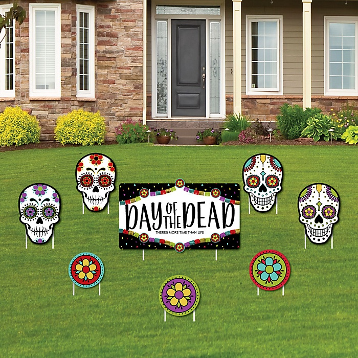 Day Of The Dead - Yard Sign & Outdoor Lawn Decorations - Halloween Sugar Skull Party Yard Signs - Set of 8