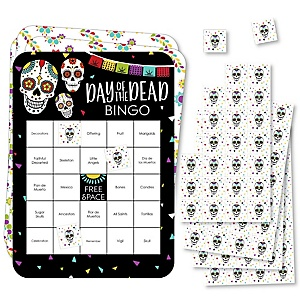 Day Of The Dead - Bingo Cards and Markers - Halloween Sugar Skull Party Bingo Game - Set of 18