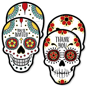 Day Of The Dead - 20 Shaped Fill-In Invitations and 20 Shaped Thank You Cards Kit - Halloween Sugar Skull Party Stationery Kit - 40 Pack