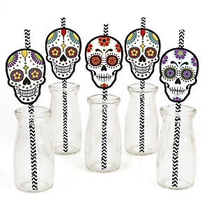 Day Of The Dead - Paper Straw Decor - Halloween Sugar Skull Party Striped Decorative Straws - Set of 24