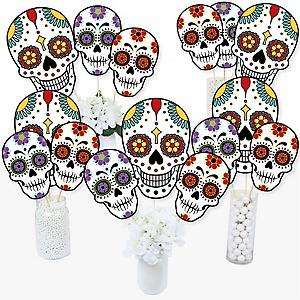 Day Of The Dead - Halloween Sugar Skull Party Centerpiece Sticks - Table Toppers - Set of 15
