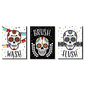 """Day Of The Dead - Kids Bathroom Rules Wall Art - 7.5"""" x 10"""" - Set of 3 Signs - Wash, Brush, Flush"""