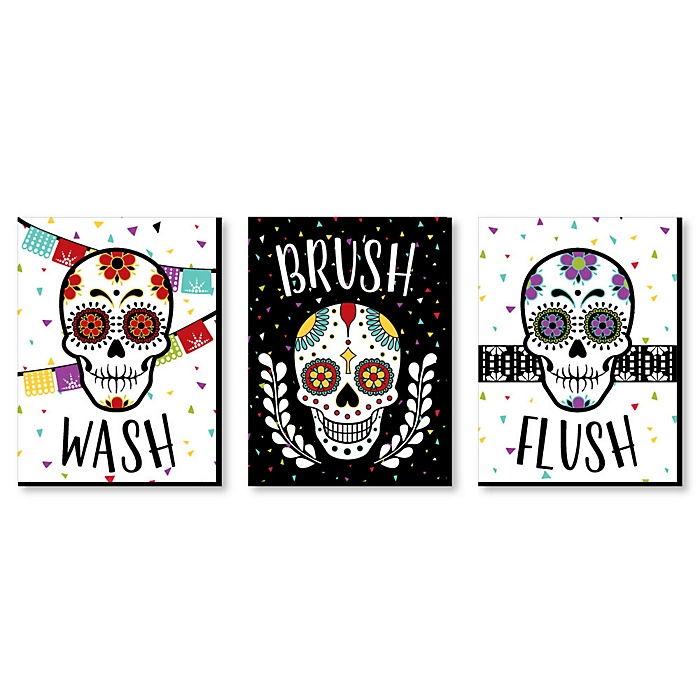Day Of The Dead - Kids Bathroom Rules Wall Art - 7.5 x 10 inches - Set of 3 Signs - Wash, Brush, Flush