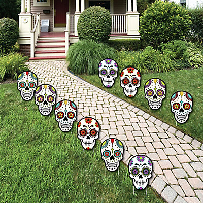 Day of the dead sugar skull skeleton lawn decorations for Day of the dead craft supplies