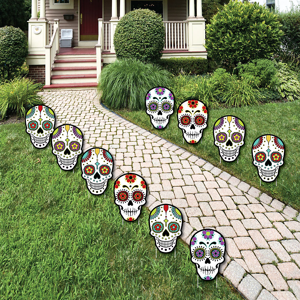 Halloween Yard.Day Of The Dead Sugar Skull Skeleton Lawn Decorations Outdoor Halloween Yard Art Decorations 10 Piece