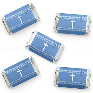 Delicate Blue Cross - Mini Candy Bar Wrapper Stickers - Baptism or Baby Shower Small Favors - 40 Count