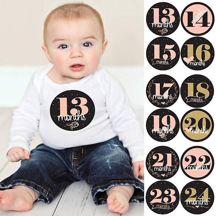 Baby Girl Second Year Monthly Sticker Set - Delicate Floral - Baby Shower Gift Ideas -  13 - 24 Months Stickers