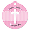 Delicate Pink Cross - Round Personalized Baptism Tags - 20 ct