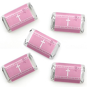 Delicate Pink Cross - Mini Candy Bar Wrapper Stickers - Baptism or Baby Shower Small Favors - 40 Count