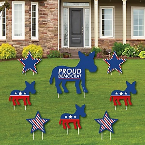 Democrat Election - Yard Sign and Outdoor Lawn Decorations - Democratic Political 2020 Election Party Yard Signs - Set of 8