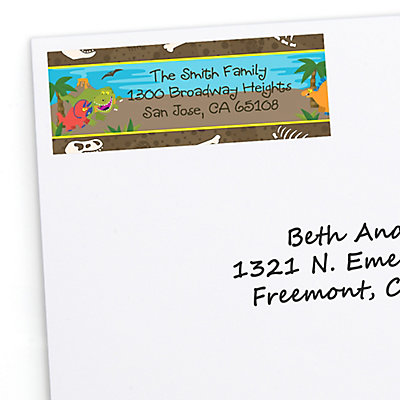 dinosaur birthday personalized birthday party return address