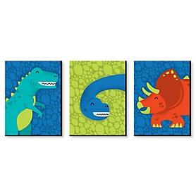 Roar Dinosaur - Boy Dino Mite T-Rex Nursery Wall Art and Kids Room Decor - 7.5 x 10 inches - Set of 3 Prints