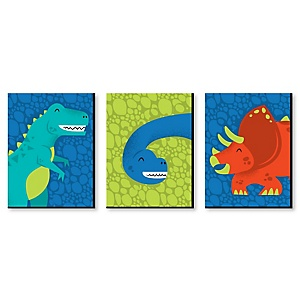 Roar Dinosaur - Boy Dino Mite T-Rex Nursery Wall Art and Kids Room Decor - 7.5 x 10 inches - Set of 3 Prints