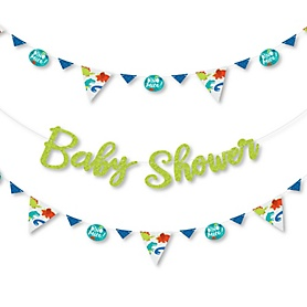 Roar Dinosaur - Dino Mite T-Rex Baby Shower Letter Banner Decoration - 36 Banner Cutouts and Baby Shower Banner Letters