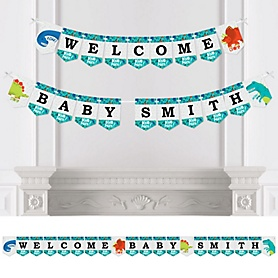 Roar Dinosaur - Personalized Dino Mite T-Rex Baby Shower Bunting Banner and Decorations