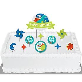 Roar Dinosaur - Dino Mite T-Rex Birthday Party Cake Decorating Kit - Happy Birthday Cake Topper Set - 11 Pieces