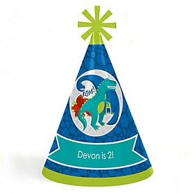 Roar Dinosaur - Personalized Cone Happy Birthday Party Hats for Kids and Adults - Set of 8 (Standard Size)
