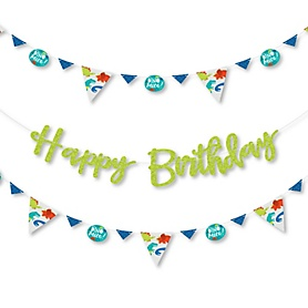 Roar Dinosaur - Dino Mite T-Rex Birthday Party Letter Banner Decoration - 36 Banner Cutouts and Happy Birthday Banner Letters