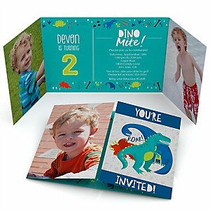 Roar Dinosaur - Personalized Dino Mite T-Rex Birthday Party Photo Invitations - Set of 12