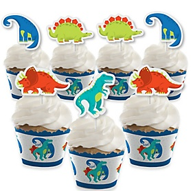 Roar Dinosaur - Cupcake Decoration - Dino Mite Trex Baby Shower or Birthday Party Cupcake Wrappers and Treat Picks Kit - Set of 24