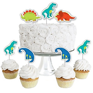 Roar Dinosaur - Dessert Cupcake Toppers - Dino Mite T-Rex Baby Shower or Birthday Party Clear Treat Picks - Set of 24